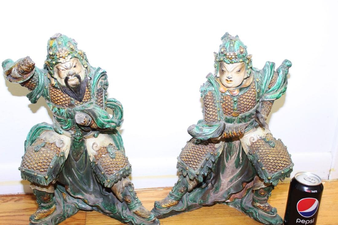A Pair Antique Chinese Tang San Cai Statue - 2