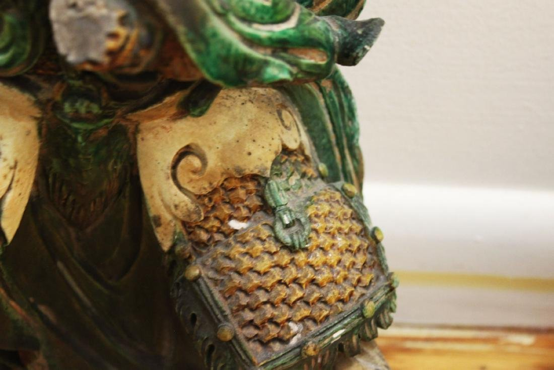 A Pair Antique Chinese Tang San Cai Statue - 7