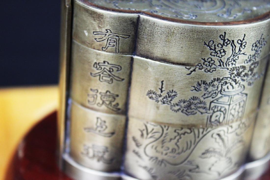 Antique Chinese White Bronze Tri-bucket - 10