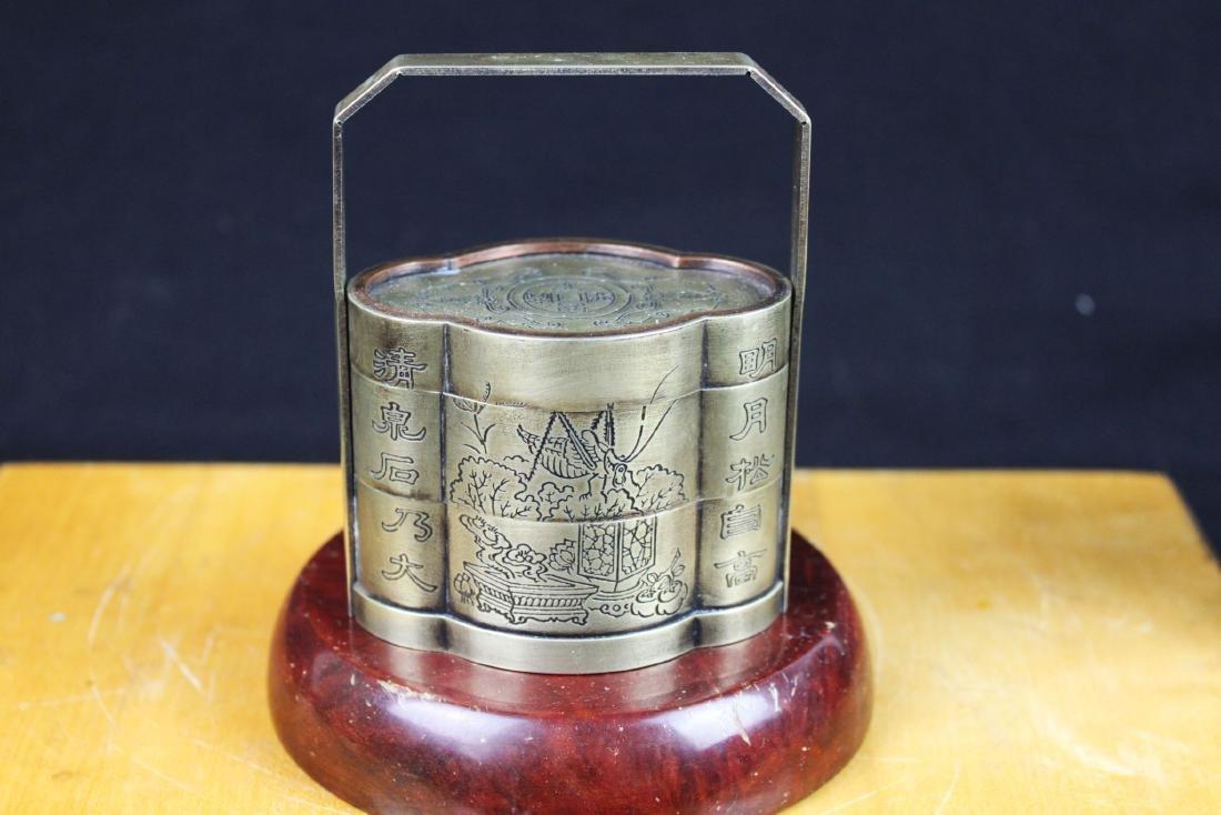 Antique Chinese White Bronze Tri-bucket