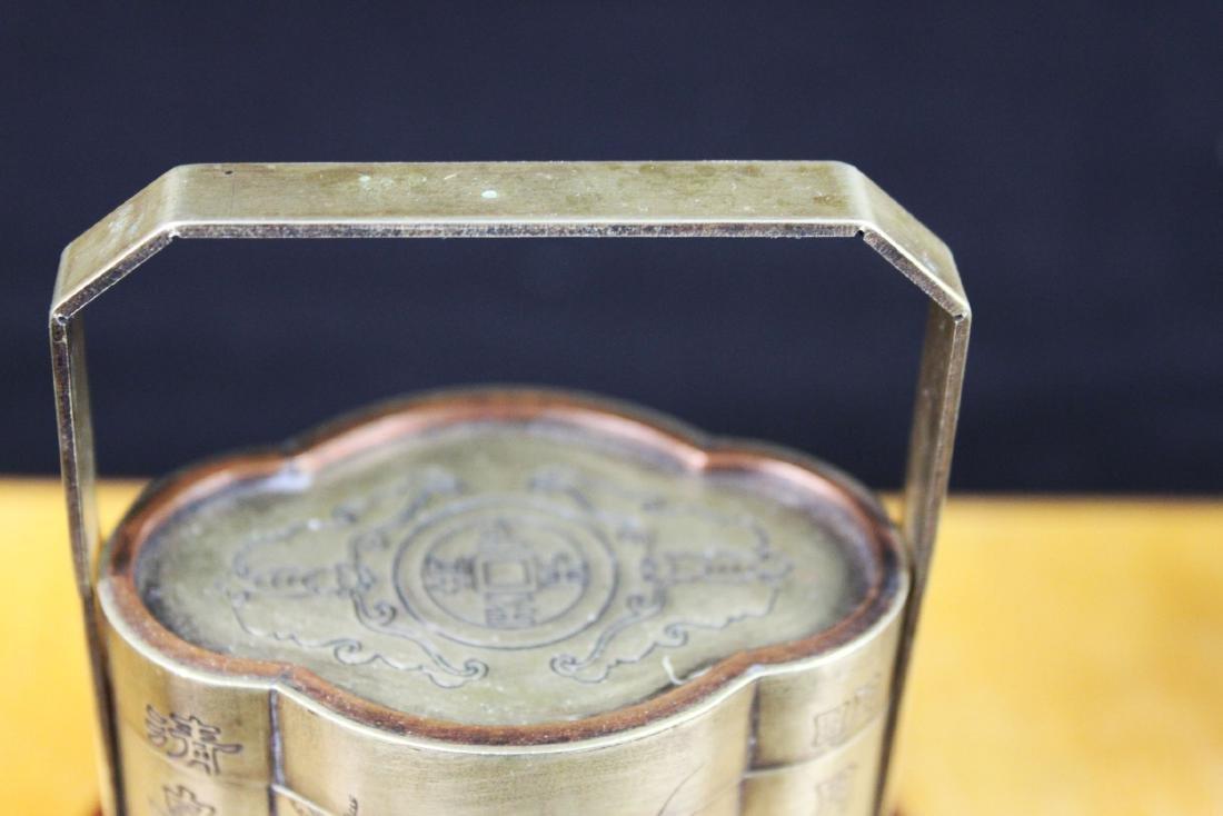 Antique Chinese White Bronze Tri-bucket - 2