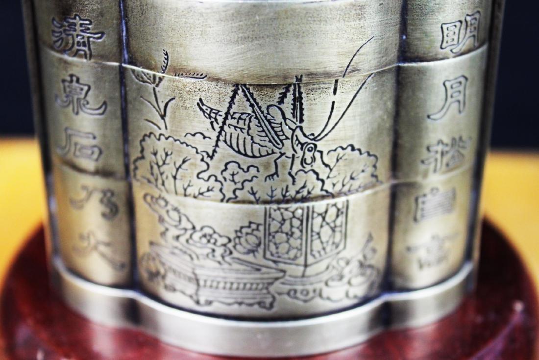 Antique Chinese White Bronze Tri-bucket - 4