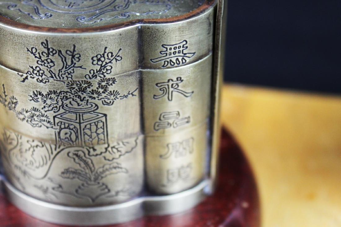 Antique Chinese White Bronze Tri-bucket - 8