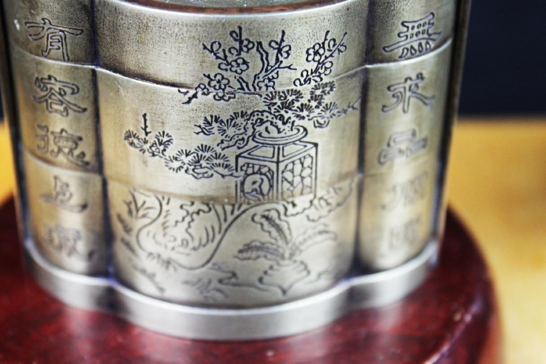 Antique Chinese White Bronze Tri-bucket - 9