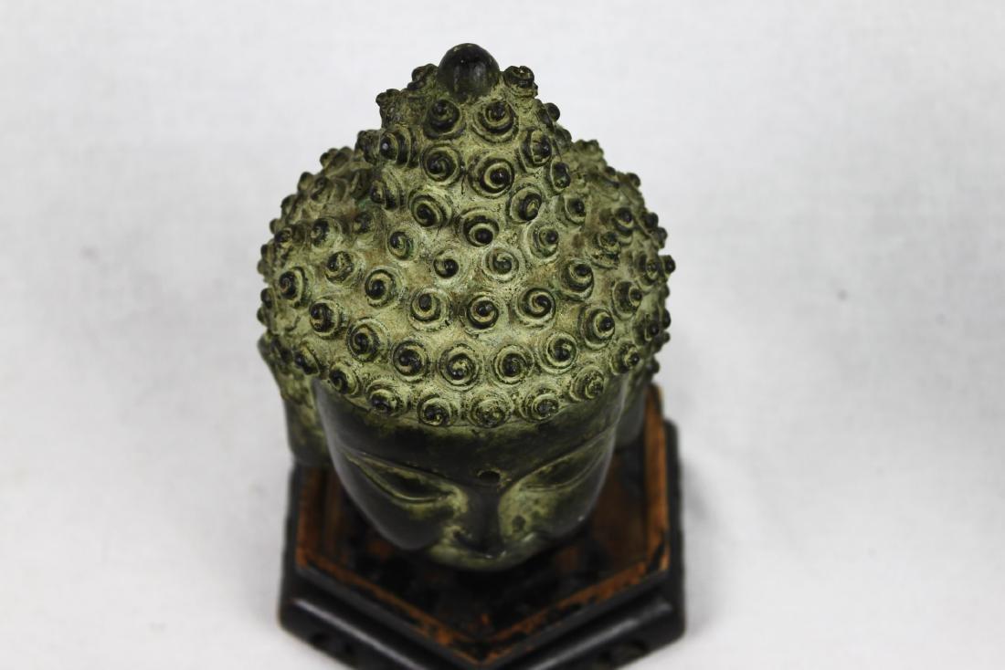 Antique Small Bronze Buddha Head Statue - 10
