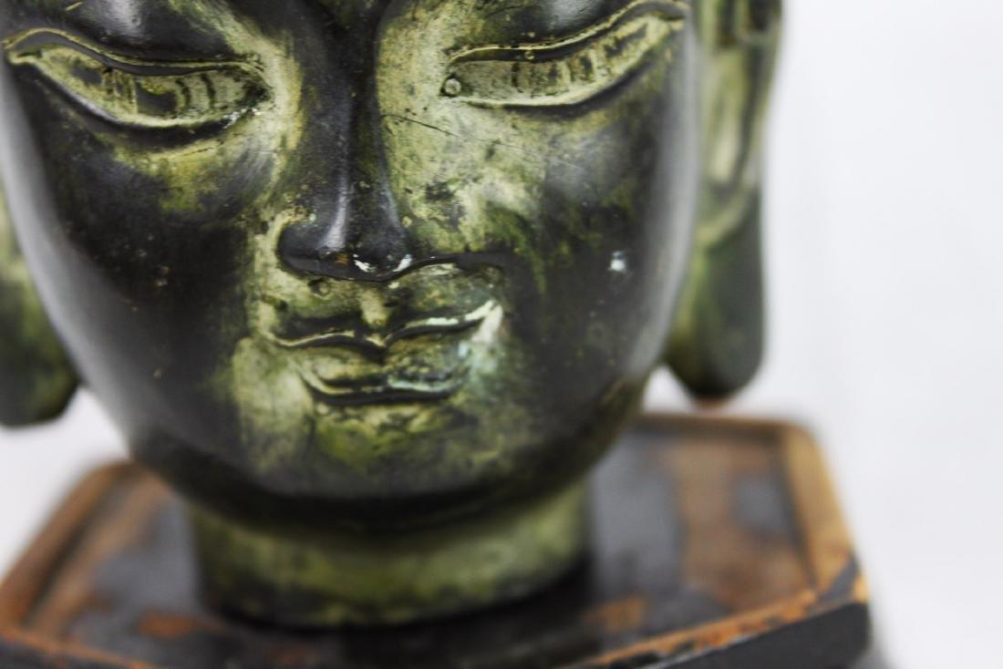 Antique Small Bronze Buddha Head Statue - 2