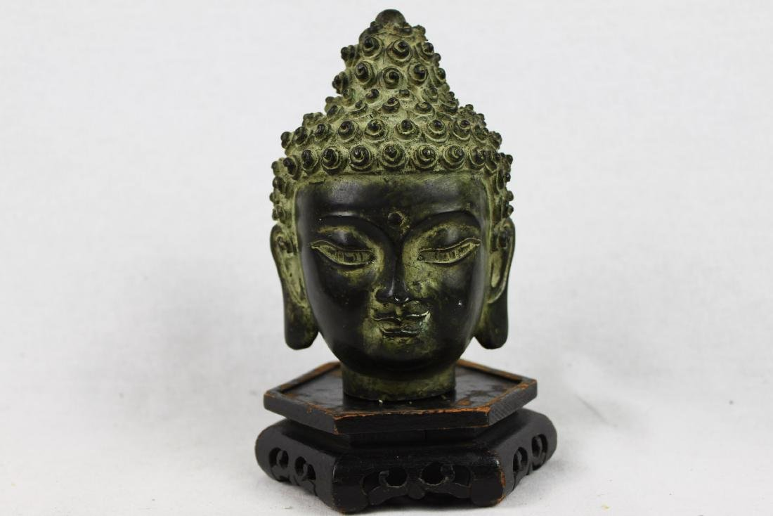 Antique Small Bronze Buddha Head Statue - 3