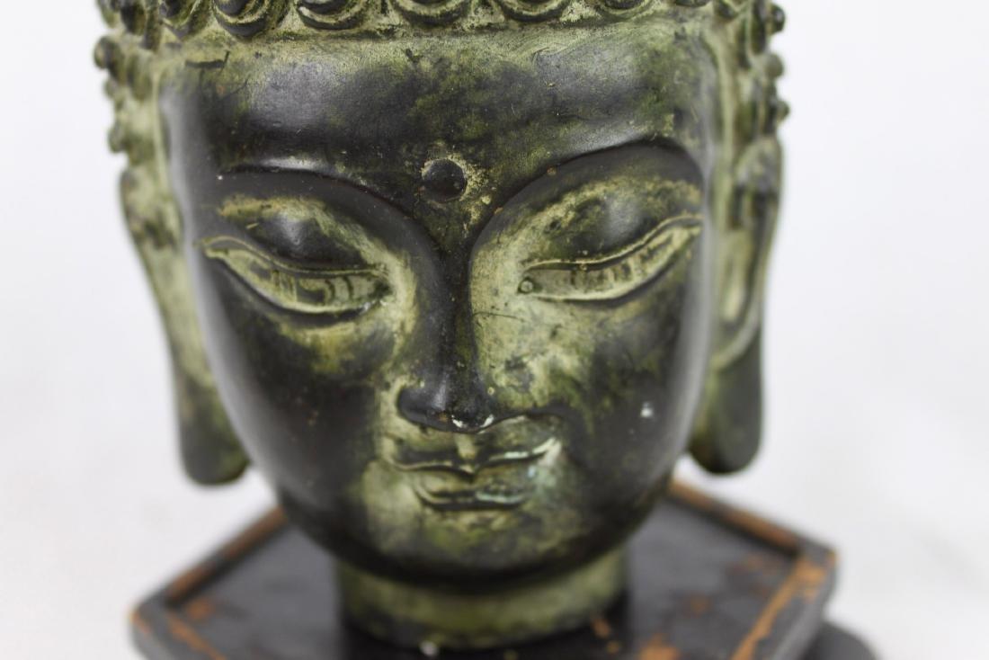 Antique Small Bronze Buddha Head Statue - 5