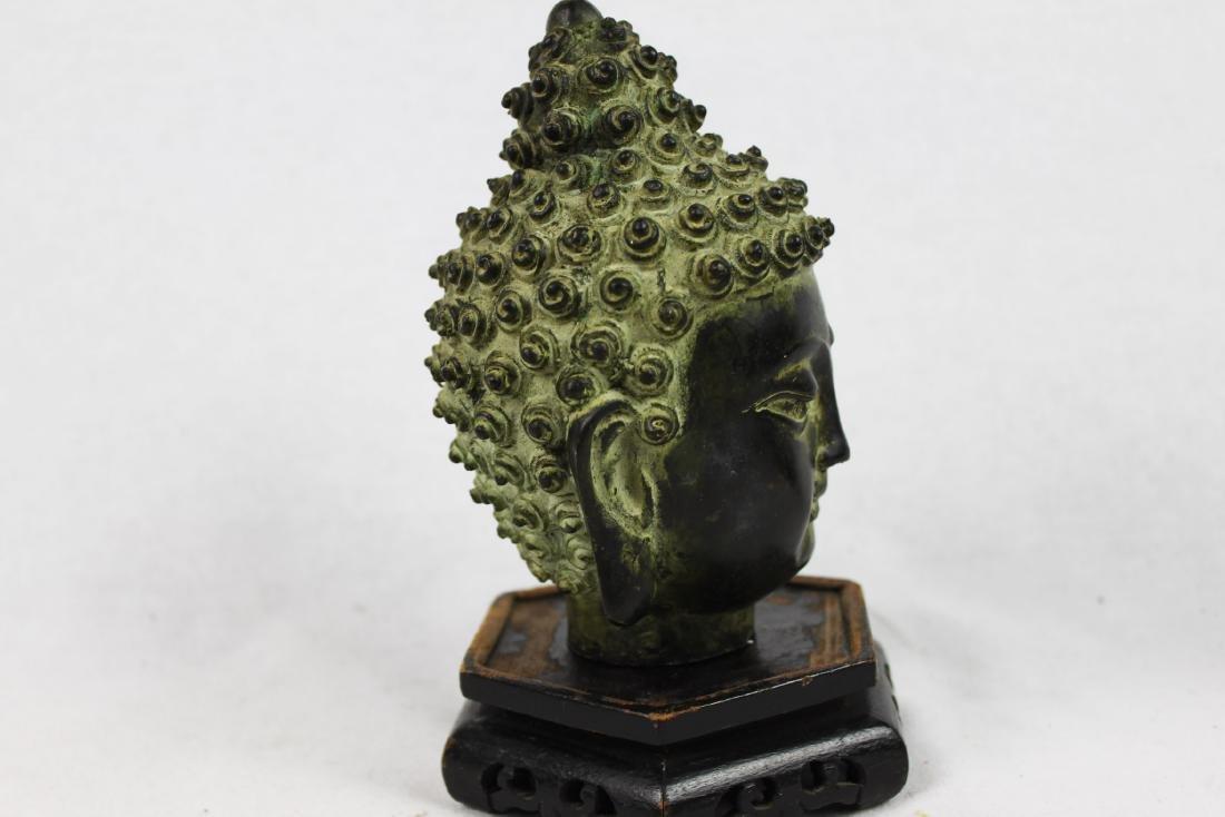 Antique Small Bronze Buddha Head Statue - 6