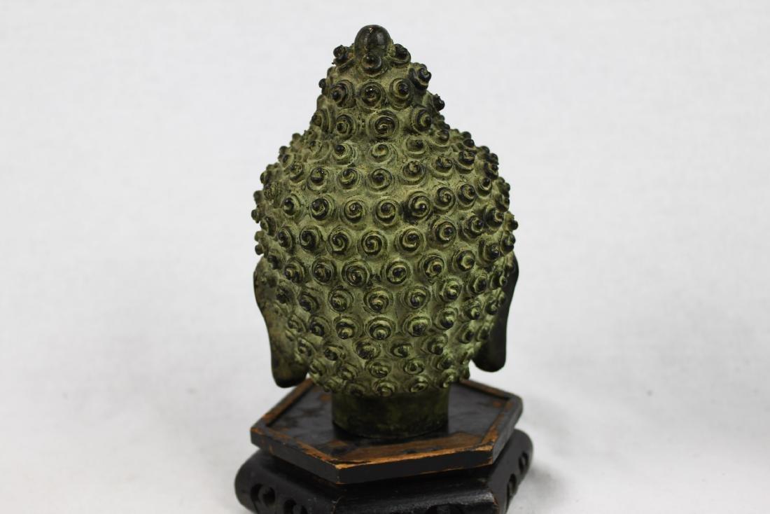 Antique Small Bronze Buddha Head Statue - 7
