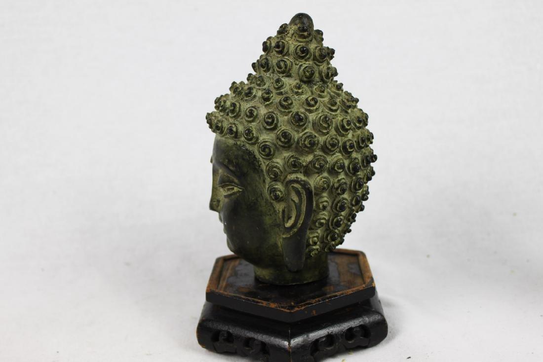 Antique Small Bronze Buddha Head Statue - 8