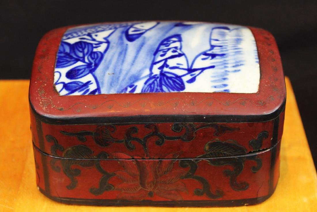 Antique Chinese Jewlery Box Porcelain top