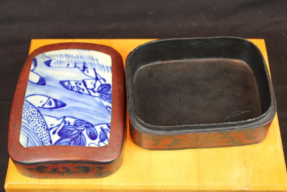 Antique Chinese Jewlery Box Porcelain top - 2