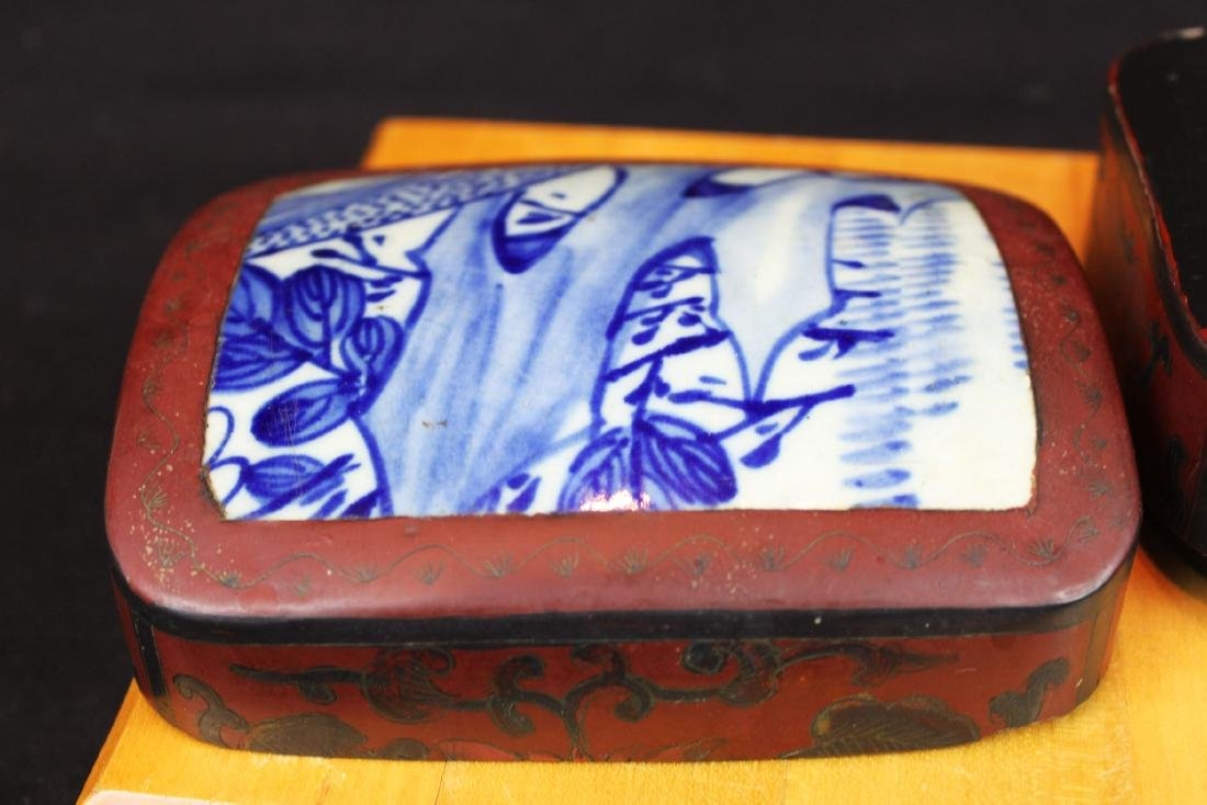 Antique Chinese Jewlery Box Porcelain top - 5