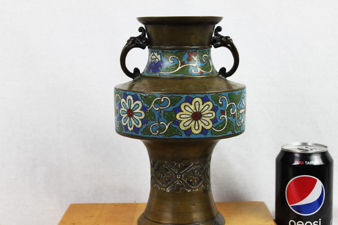 Antique Bronze Vase with Cloisonne around