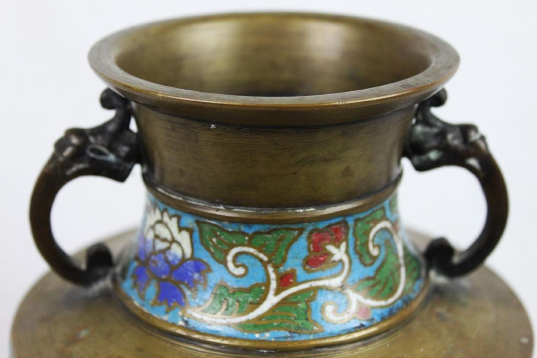 Antique Bronze Vase with Cloisonne around - 2