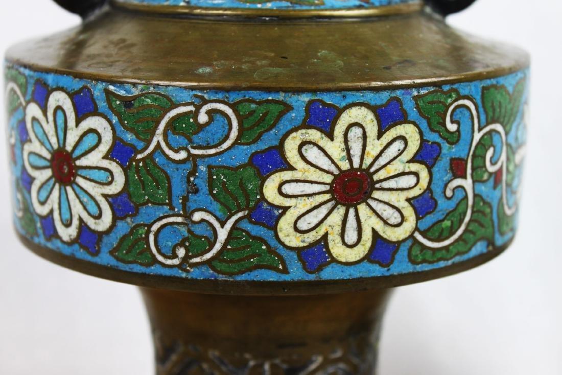 Antique Bronze Vase with Cloisonne around - 3
