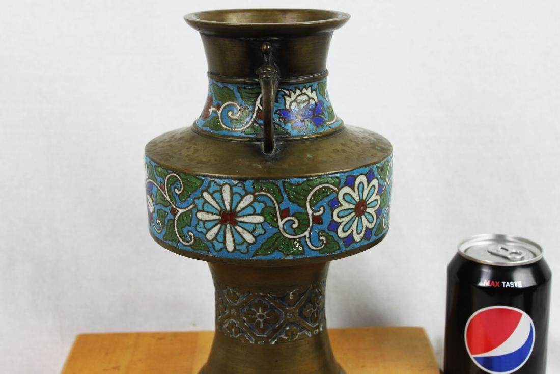 Antique Bronze Vase with Cloisonne around - 5