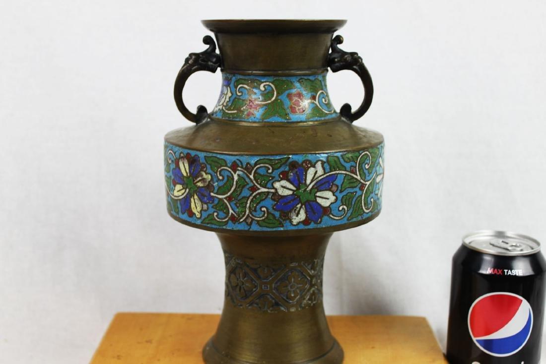 Antique Bronze Vase with Cloisonne around - 6