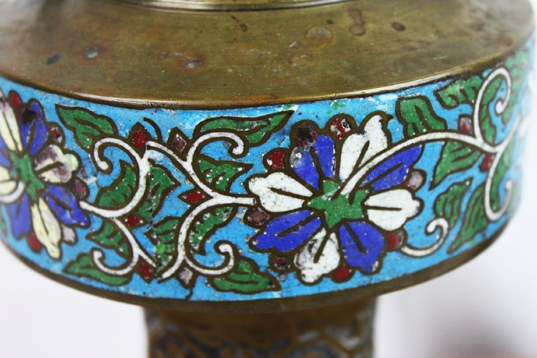 Antique Bronze Vase with Cloisonne around - 8