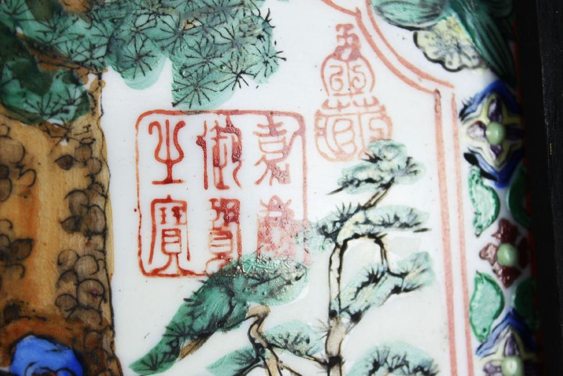 A Pair Antique Chinese Porcelain Painting panels - 10