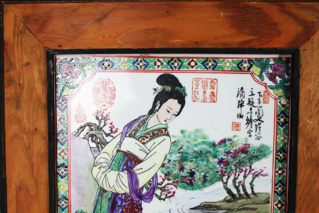 A Pair Antique Chinese Porcelain Painting panels - 2