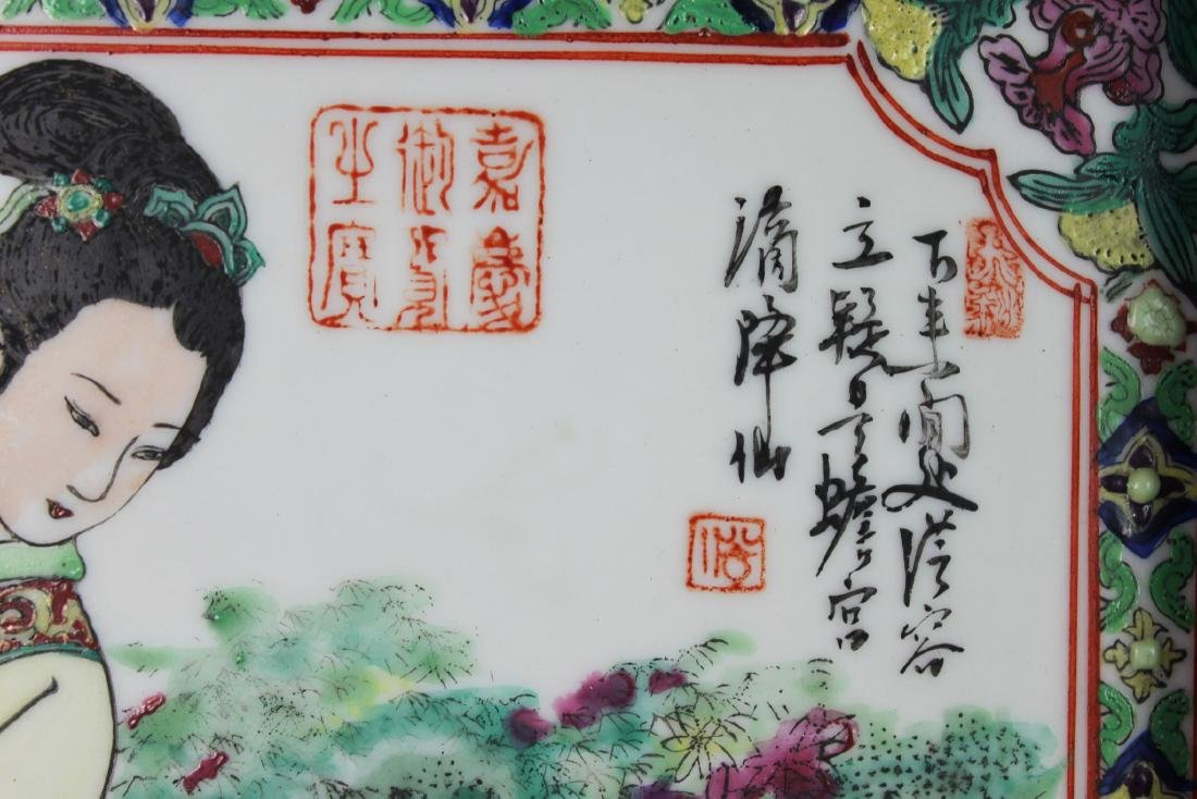 A Pair Antique Chinese Porcelain Painting panels - 3