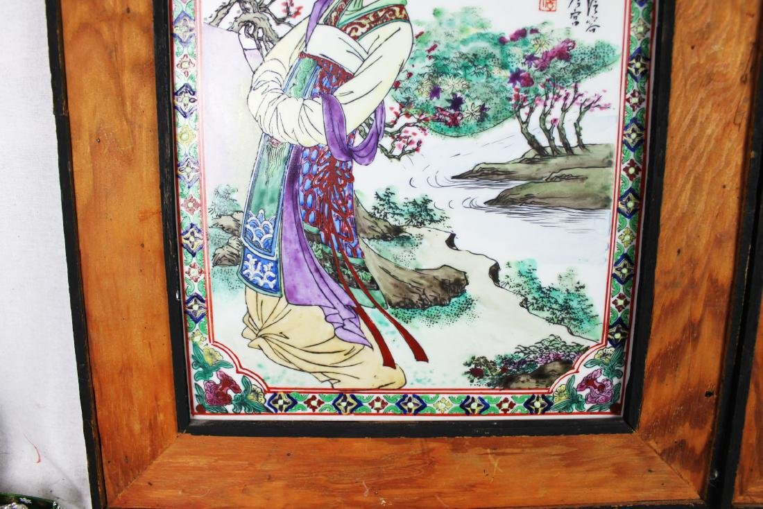 A Pair Antique Chinese Porcelain Painting panels - 5