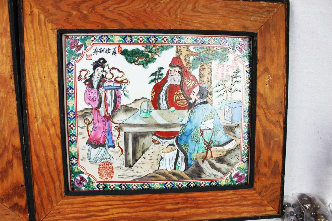 A Pair Antique Chinese Porcelain Painting panels - 6