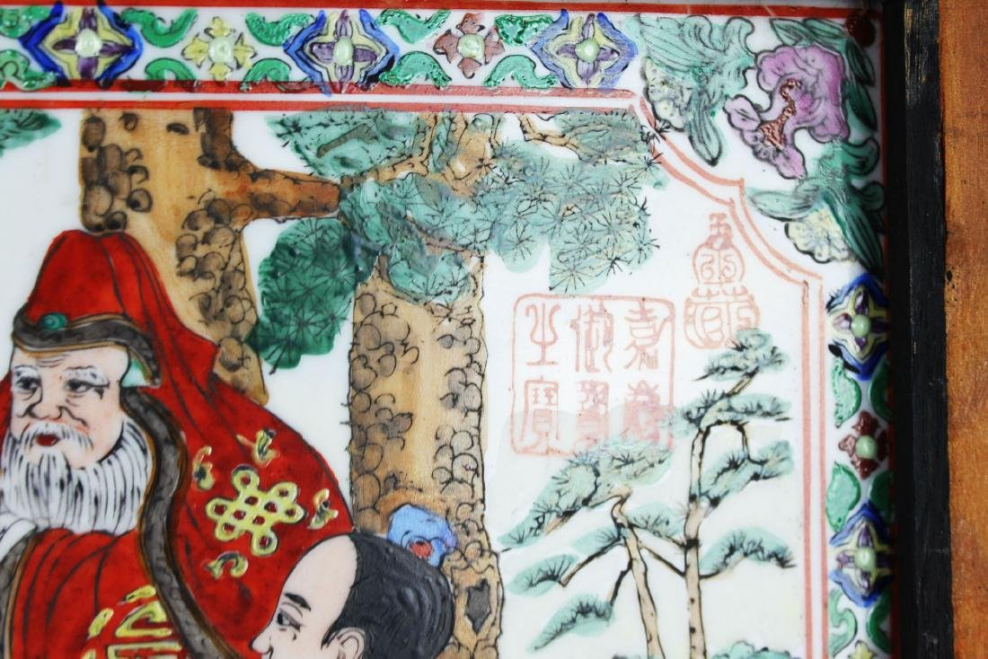 A Pair Antique Chinese Porcelain Painting panels - 9