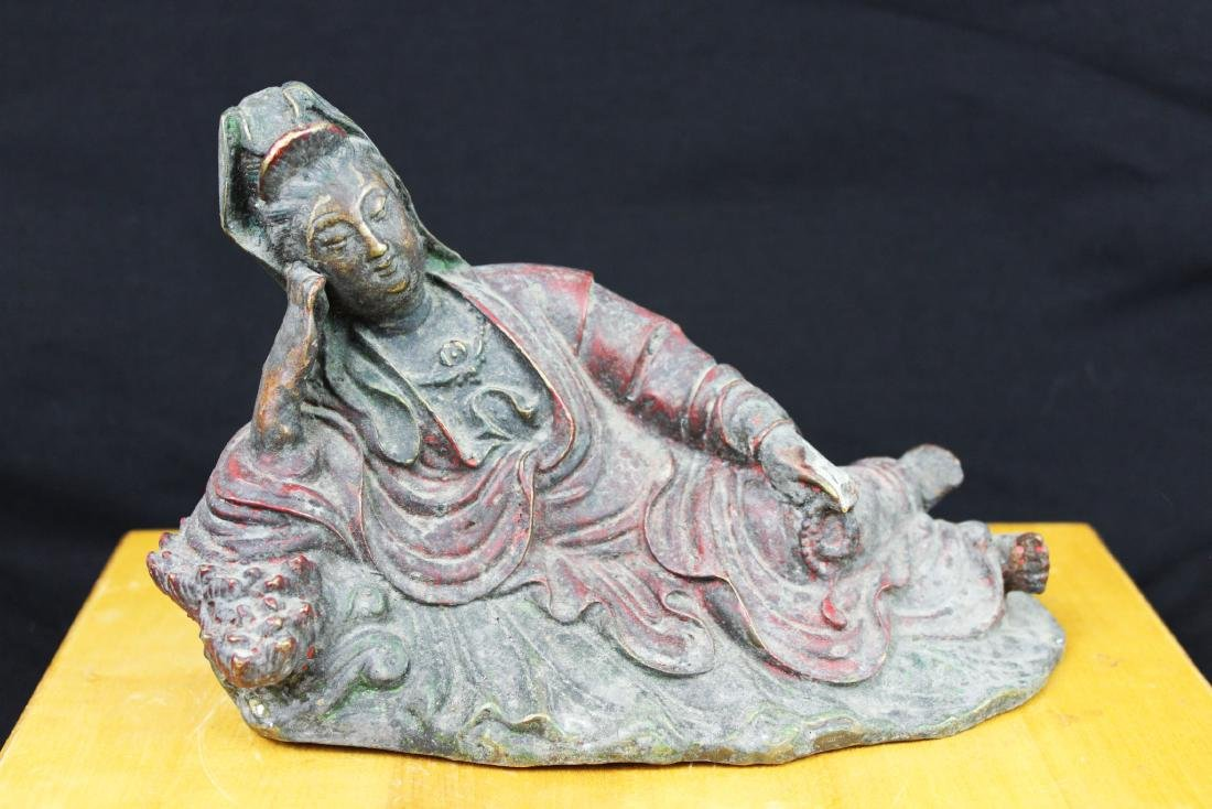 Antique Chinese Bronze Guanyin Statue