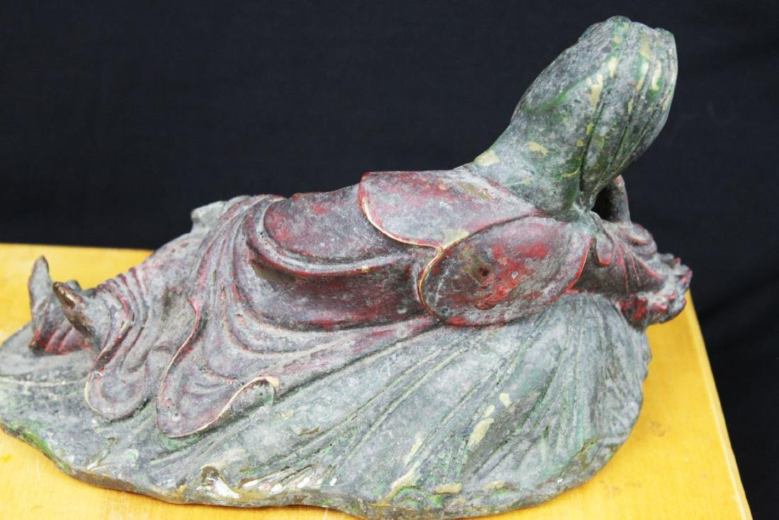 Antique Chinese Bronze Guanyin Statue - 6