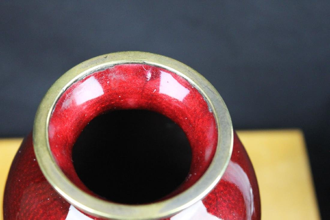 A Pair Chinese Red Junyao Glazed Vase - 10
