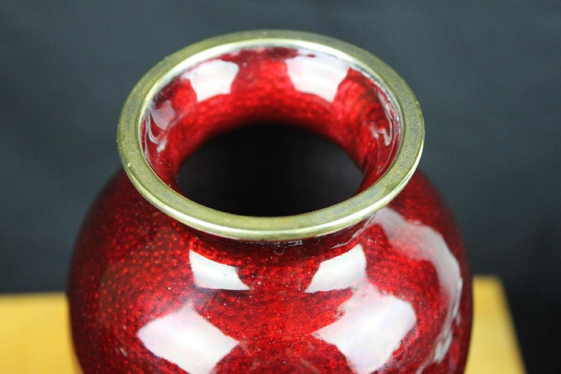A Pair Chinese Red Junyao Glazed Vase - 3