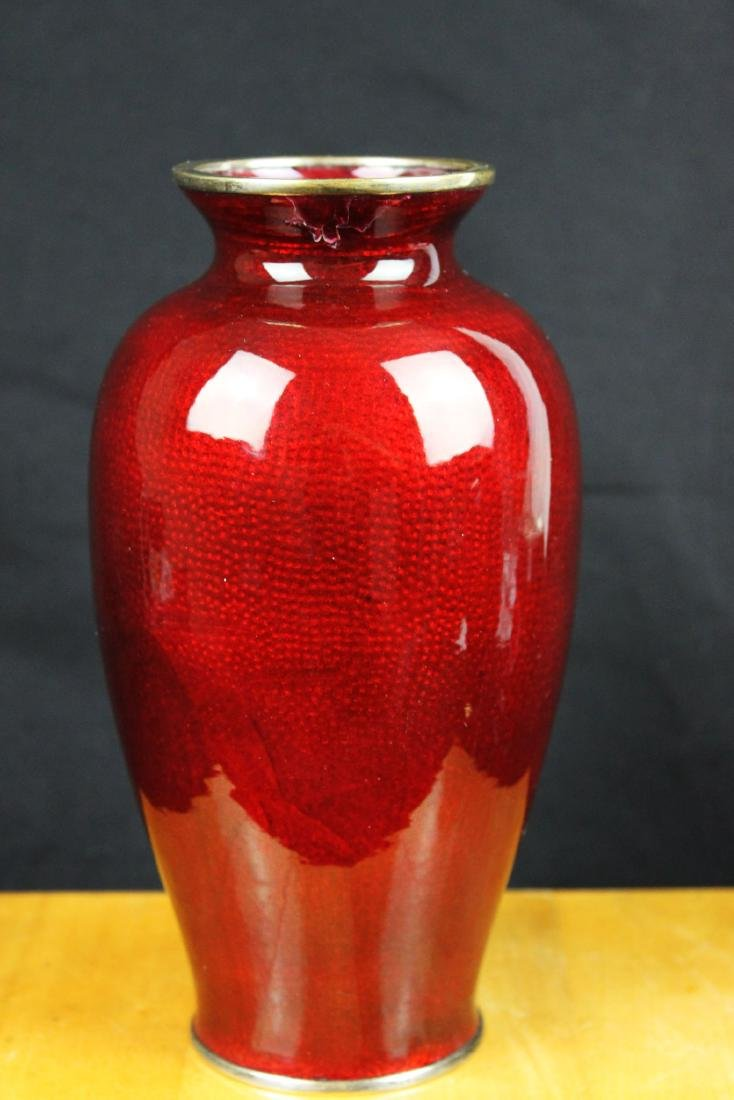 A Pair Chinese Red Junyao Glazed Vase - 8