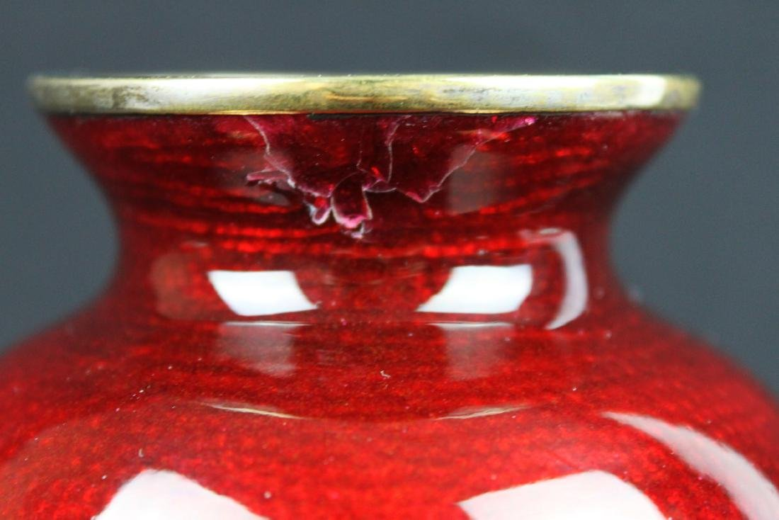 A Pair Chinese Red Junyao Glazed Vase - 9