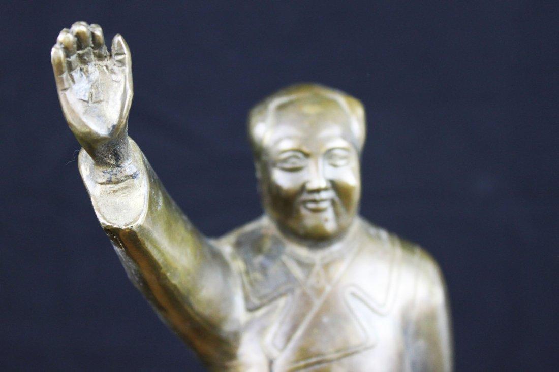 Antique Chinese Bronze Mao ze Dong Statue - 2