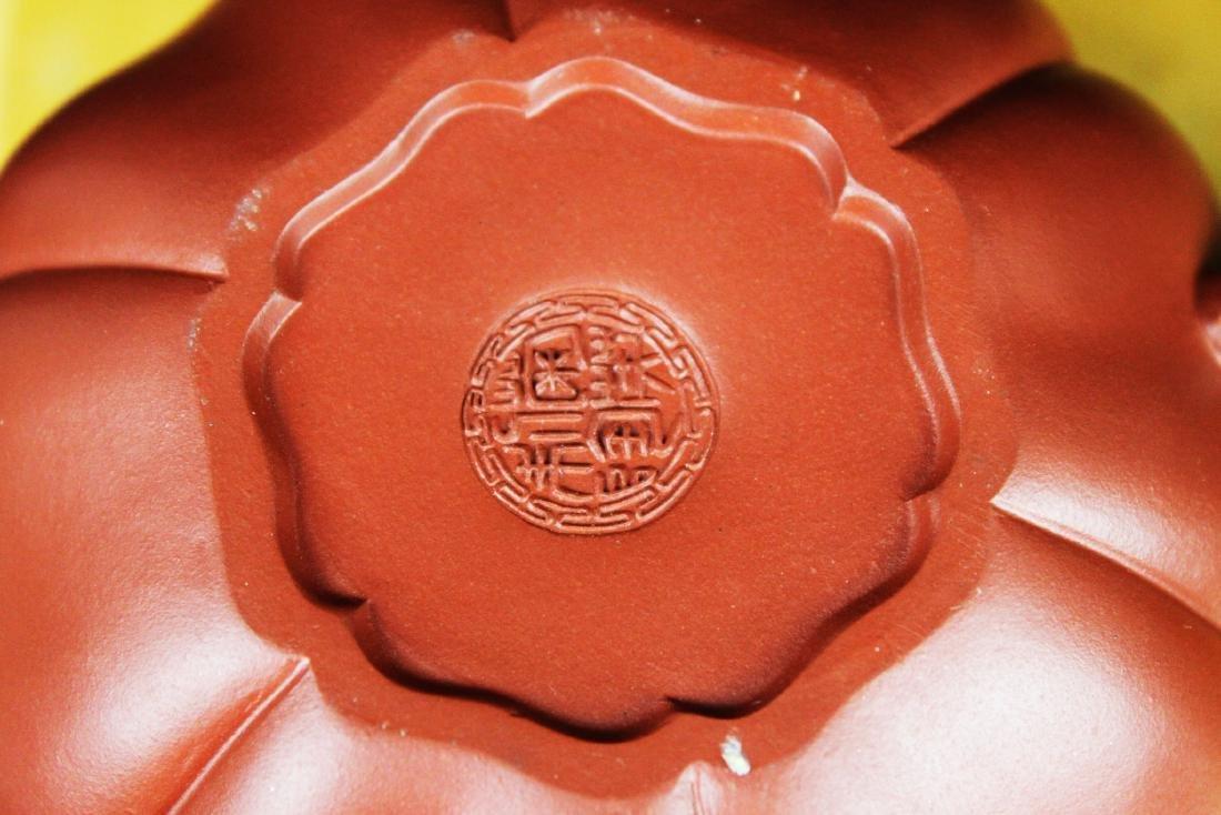 Chinese Yixing Zisha Tea Pot w/ wood stand - 5