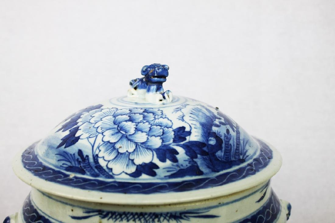 Large Chinese Blue & White porcelain Jar with Wood - 2