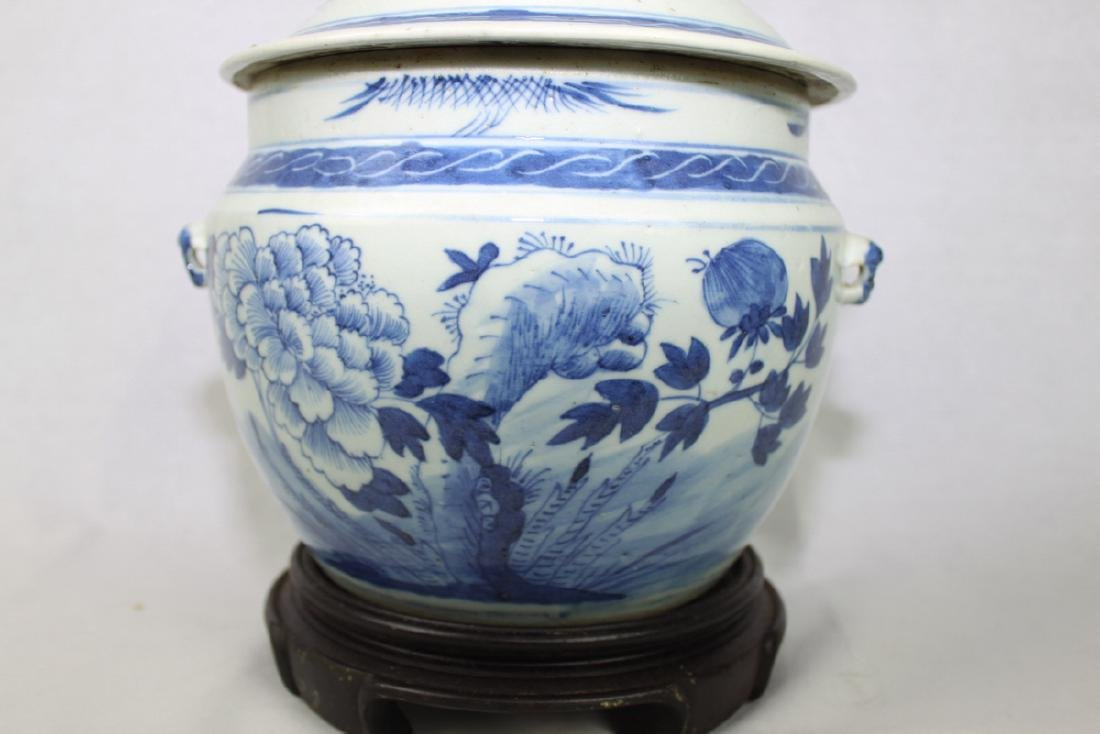 Large Chinese Blue & White porcelain Jar with Wood - 3