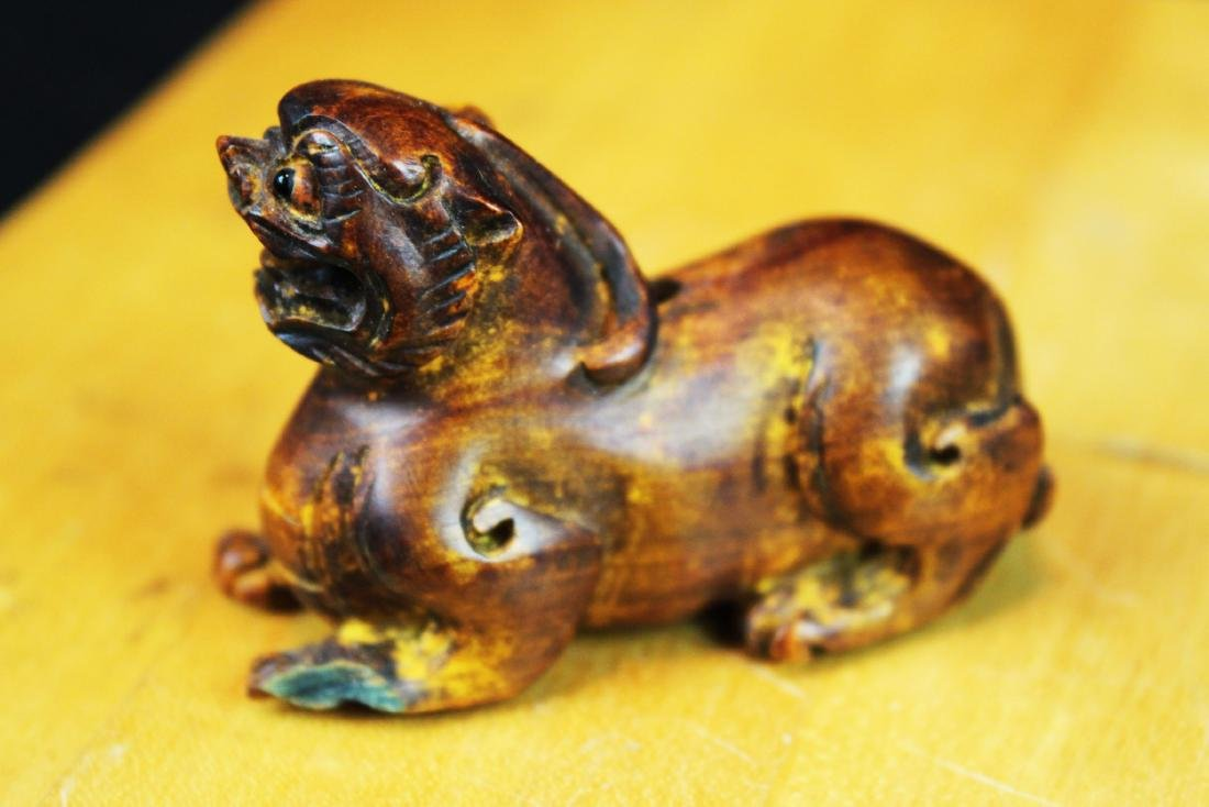 Six Hand Carved Lion Statue Figures - 10