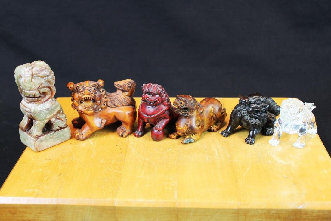 Six Hand Carved Lion Statue Figures