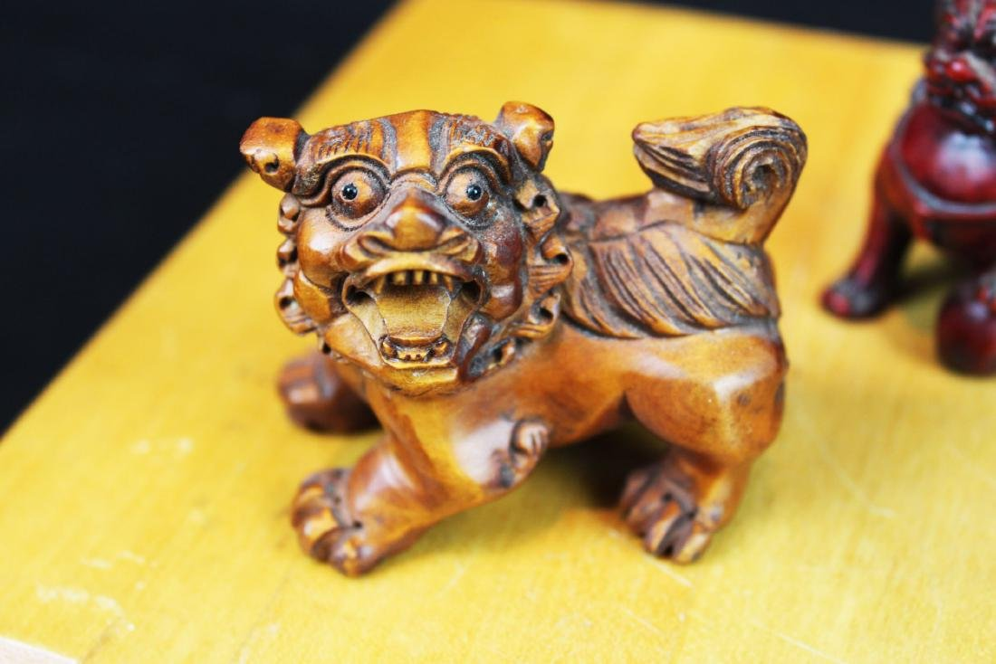 Six Hand Carved Lion Statue Figures - 4