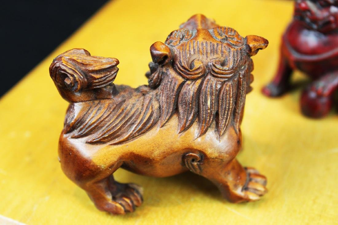 Six Hand Carved Lion Statue Figures - 5