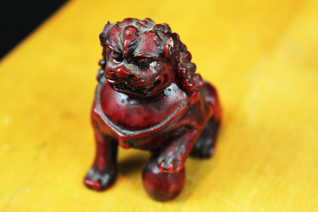 Six Hand Carved Lion Statue Figures - 6