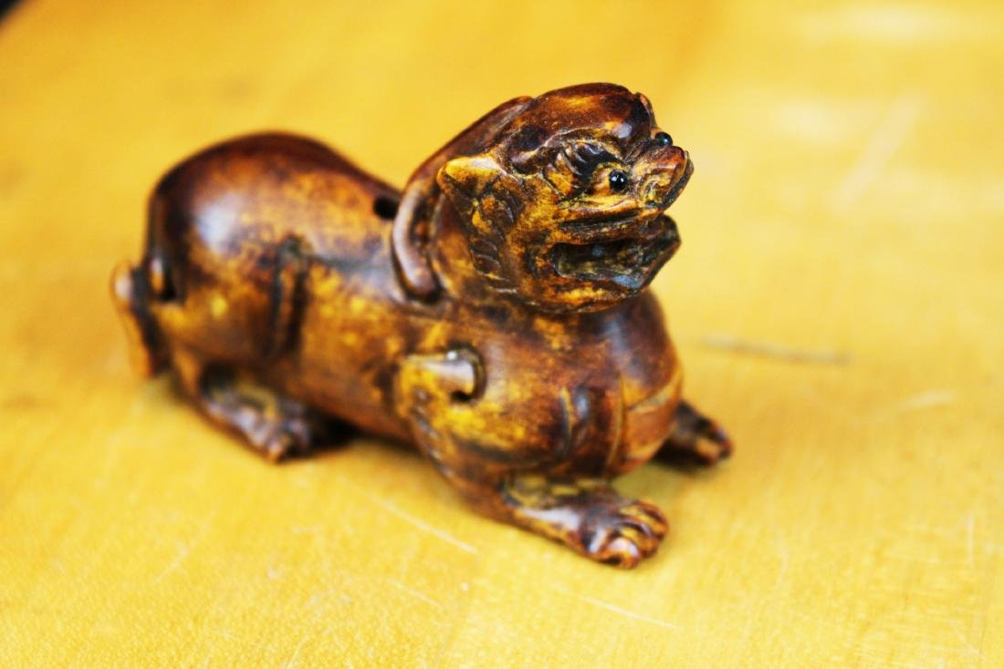 Six Hand Carved Lion Statue Figures - 9