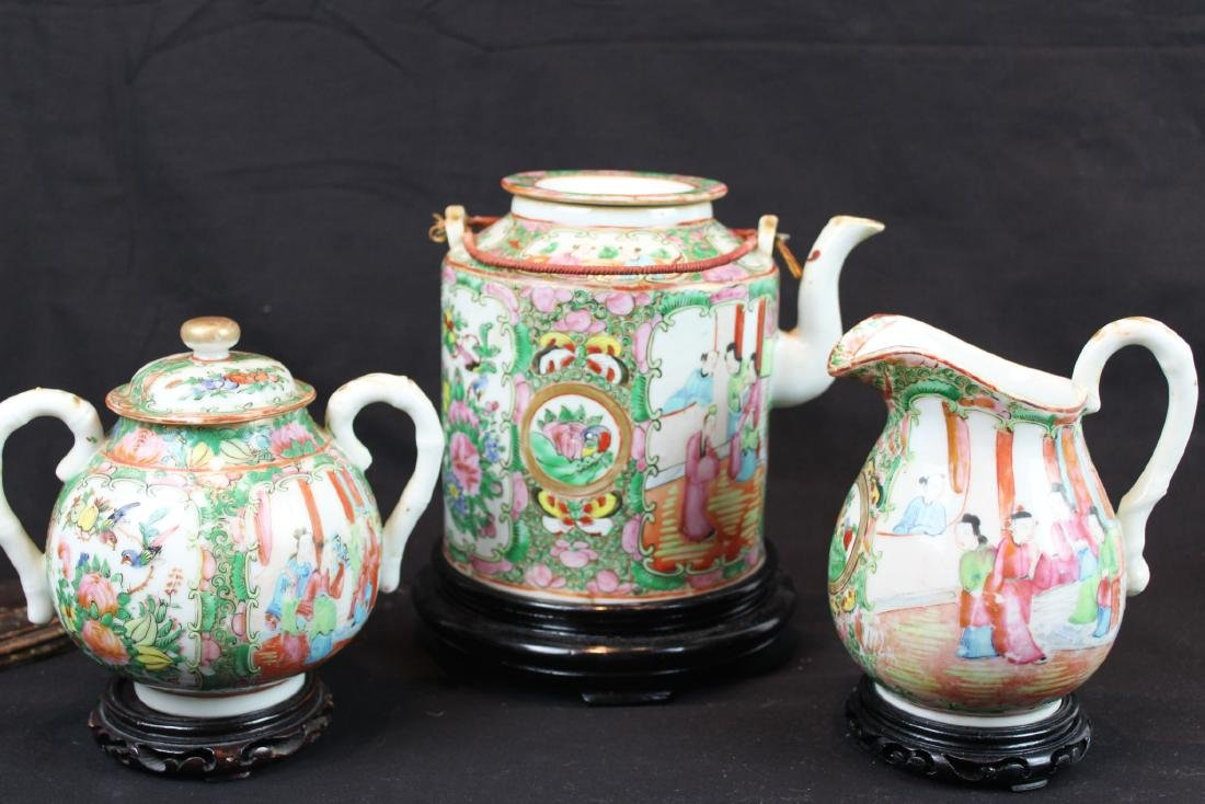 Three of Chinese Famillie Rose Porcelain Teapot set