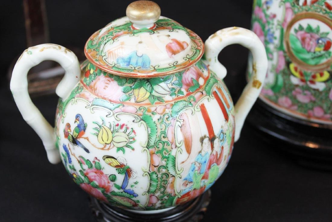 Three of Chinese Famillie Rose Porcelain Teapot set - 6