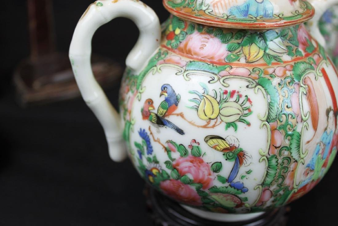 Three of Chinese Famillie Rose Porcelain Teapot set - 7