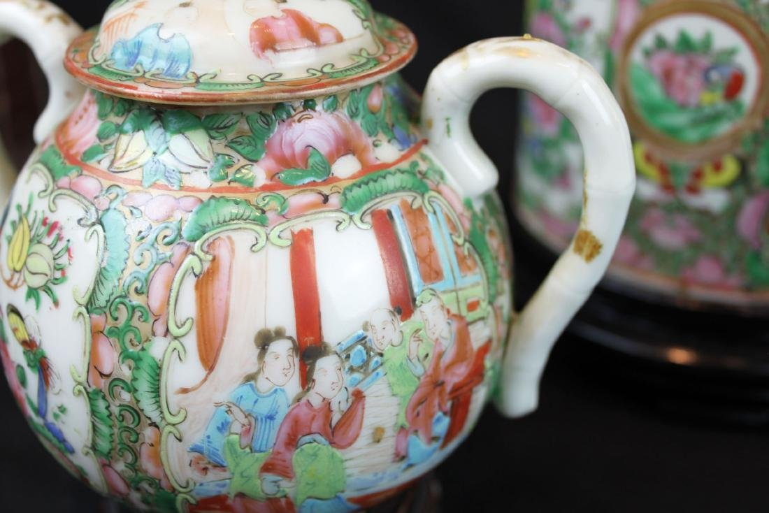 Three of Chinese Famillie Rose Porcelain Teapot set - 8